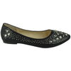 Womens Ballet Flats Rhinestone Glitter Slip On Casual Shoes black