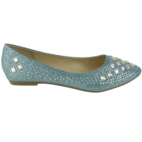 Womens Ballet Flats Rhinestone Glitter Slip On Casual Shoes Blue