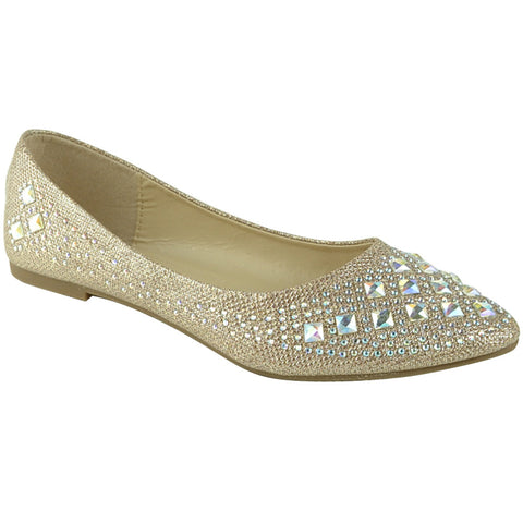 Womens Ballet Flats Rhinestone Glitter Slip On Casual Shoes Champagne