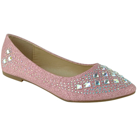 Womens Ballet Flats Rhinestone Glitter Slip On Casual Shoes Orange
