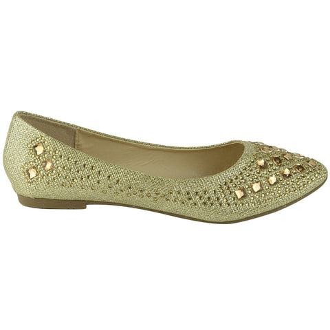 Womens Ballet Flats Rhinestone Glitter Slip On Casual Shoes Gold