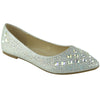 Womens Ballet Flats Rhinestone Glitter Slip On Casual Shoes Silver