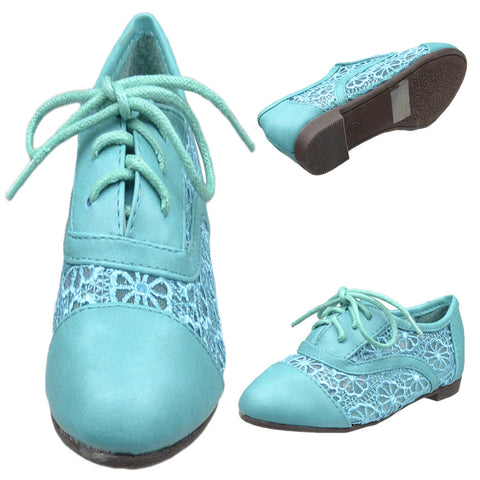 Kids Ballet Flats Embroidered Flower Lace Up Oxford Flats Green