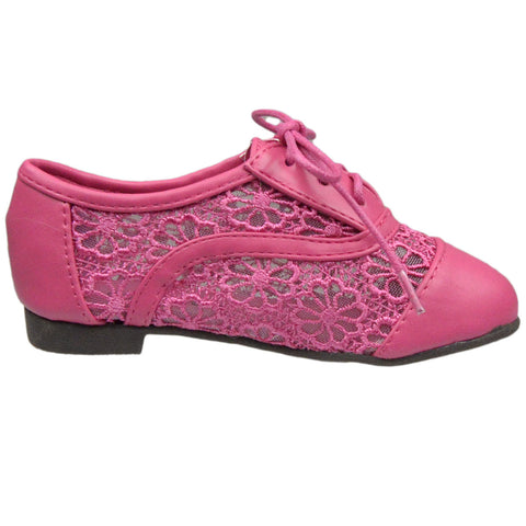 Kids Ballet Flats Embroidered Flower Lace Up Oxford Flats Pink