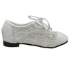 Kids Ballet Flats Embroidered Flower Lace Up Oxford Flats White