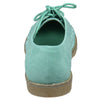 Womens Closed Toe Shoes Embroidered Flower Lace Up Oxford Flats Green