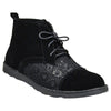 Womens Closed Toe Shoes Embroidered Flower High Top Lace Up Oxford black
