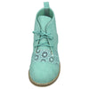 Womens Closed Toe Shoes Embroidered Flower High Top Lace Up Oxford Green