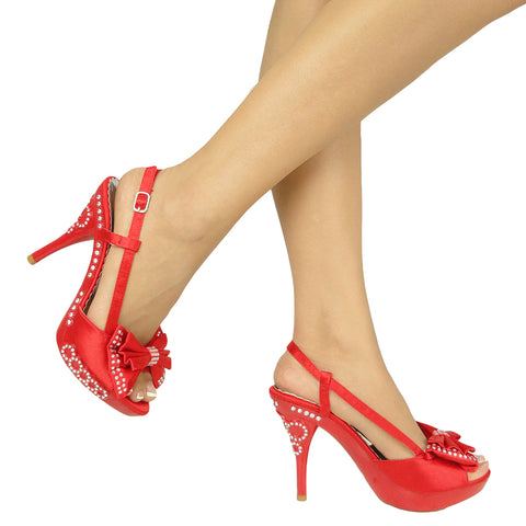 Womens Dress Sandals Satin Layered Rhinestone Bow High Heel Shoes Red