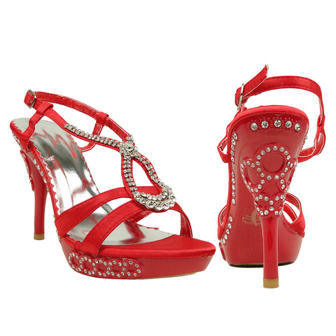 Womens Dress Sandals Flower Cross Strap High Heels Red