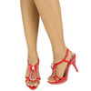 Womens Dress Sandals Bow Tie Drop Embellished High Heels Red