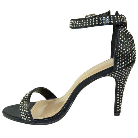 Womens Dress Sandals Single Strap Rhinestone Accent Stiletto Pumps black