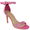 Womens Dress Sandals Single Strap Rhinestone Accent Stiletto Pumps Pink