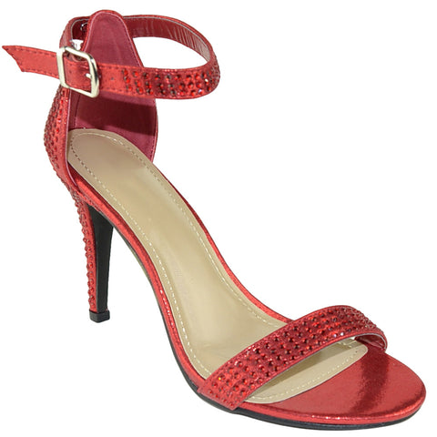 Womens Dress Sandals Single Strap Rhinestone Accent Stiletto Pumps Red