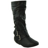 Kids Mid Calf Boots Double Strap Buckles Casual Zip Up Shoes Black