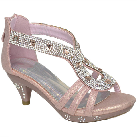 Kids Dress Sandals Teardrop Embellished Glitter Dress Shoes Pink