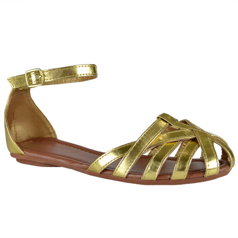 Womens Flat Sandals Layered Strappy Casual Shoes Gold