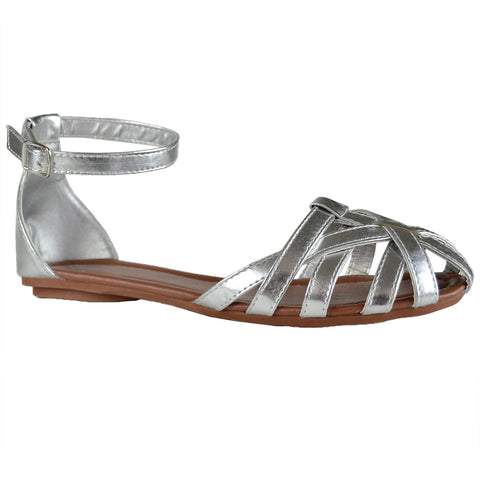 Womens Flat Sandals Layered Strappy Casual Shoes Silver
