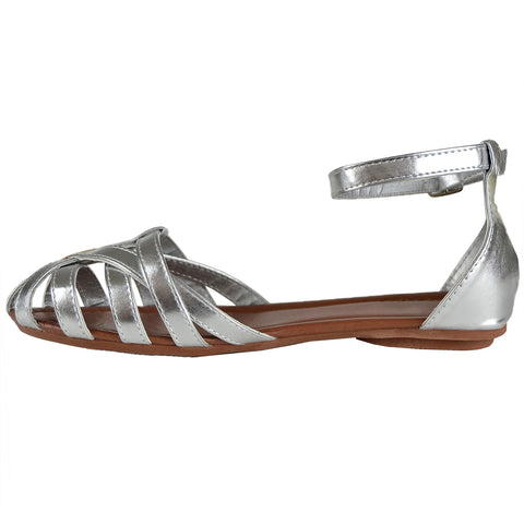 625100a3c07 Womens Flat Sandals Layered Strappy Casual Shoes Silver