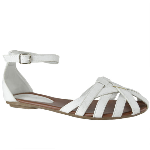 Womens Flat Sandals Layered Strappy