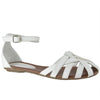 Womens Flat Sandals Layered Strappy Casual Shoes White