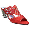 Womens Dress Sandals Glitter Rhinestone Cutout Wedge Heel Sandals Red