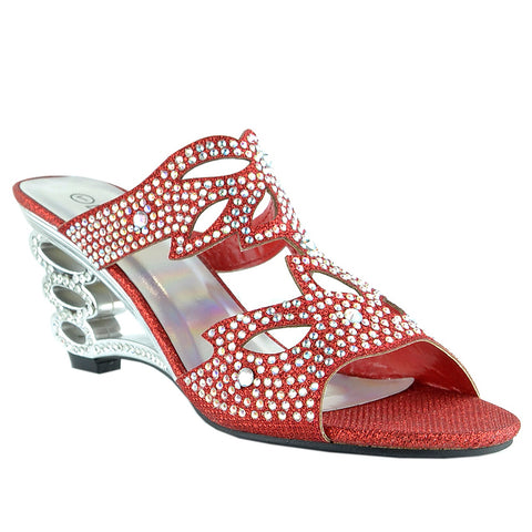 Womens Dress Sandals Rhinestone Glitter Cutout Wedge Heel Sandals Red