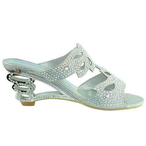 Womens Dress Sandals Rhinestone Glitter Cutout Wedge Heel Sandals Silver