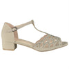 Womens Dress Sandals Chunky Heel Cutout Accented Shoes Taupe