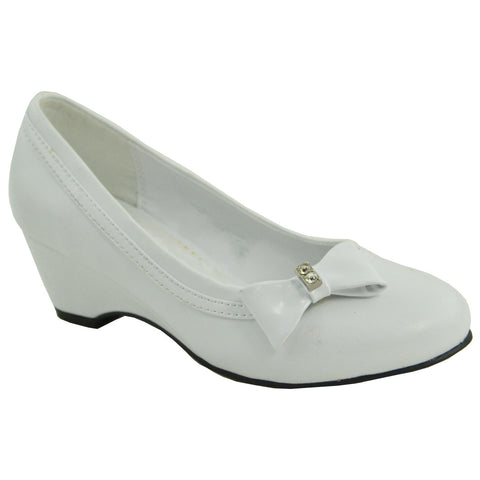 Kids Dress Shoes Rhinestone Bow Accent Closed Toe Wedge White