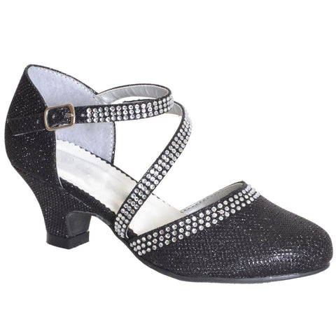 Kids Dress Shoes Strappy Rhinestones Glitter Closed Toe Dress Shoe Black