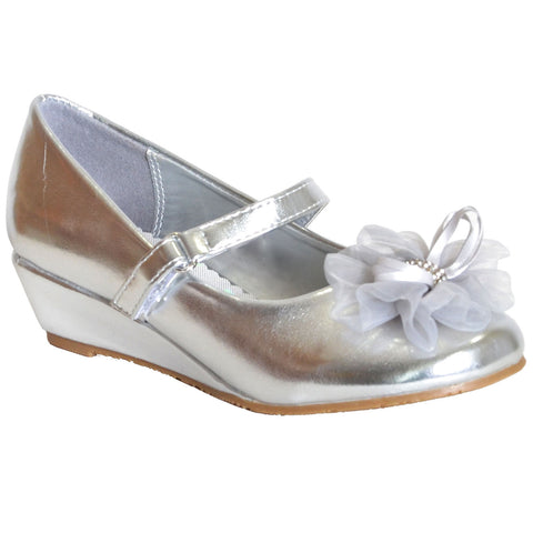 Kids Dress Shoes Rhinestone Flower Accent Low Wedge Slip On Silver