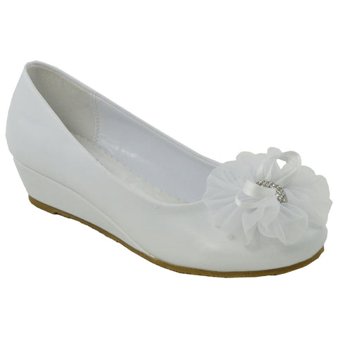 Kids Dress Shoes Rhinestone Flower Accent Low Wedge Slip On White