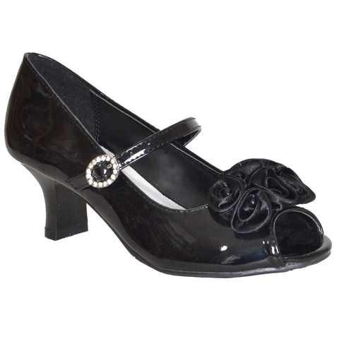 Kids Dress Shoes Beaded Flower Rosettes Low Heel Rhinestone Side Buckle Black