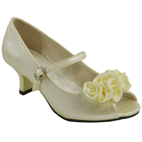 Kids Dress Shoes Beaded Flower Rosettes Low Heel Rhinestone Side Buckle IVORYPU