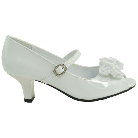 Kids Dress Shoes Beaded Flower Rosettes Low Heel Rhinestone Side Buckle White