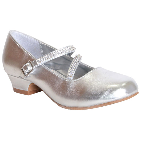 Kids Dress Shoes Assymetrical Strappy Rhineston Closed Toe Buckle Shoe Silver