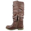 Womens Knee High Boots Strappy Ruched Leather Casual Comfort Shoes Brown