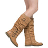 Womens Knee High Boots Strappy Ruched Leather Casual Comfort Shoes Tan