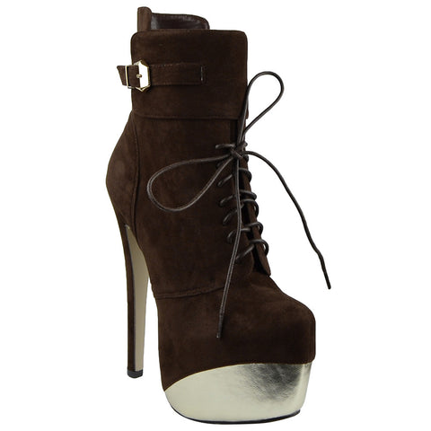 Womens Mid Calf Boots Two Tone Platform Sexy High Heels Brown