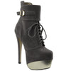 Womens Mid Calf Boots Two Tone Platform Sexy High Heels Gray