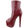 Womens Mid Calf Boots Reverse Buckle Accent Sexy High Heels Red