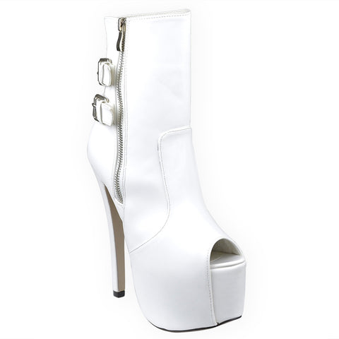 Womens Mid Calf Boots Reverse Buckle Accent Sexy High Heels White