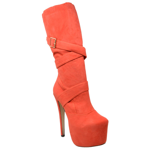 Womens Mid Calf Boots Strappy Buckle Platform  Sexy High Heels Coral