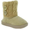 Kids Ankle Boots Interior Fleece Button Accent Soft Rubber Sole Beige