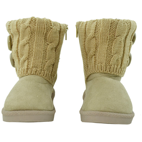 Toddler Ankle Boots Fur Lining Buttons Accent Soft Rubber Sole Booties Beige