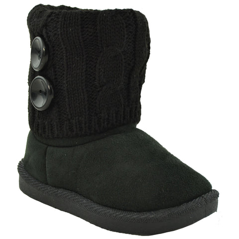 Toddler Ankle Boots Fur Lining Buttons Accent Soft Rubber Sole Booties black