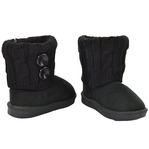 Kids Ankle Boots Interior Fleece Button Accent Soft Rubber Sole black