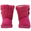 Toddler Ankle Boots Fur Lining Buttons Accent Soft Rubber Sole Booties Pink