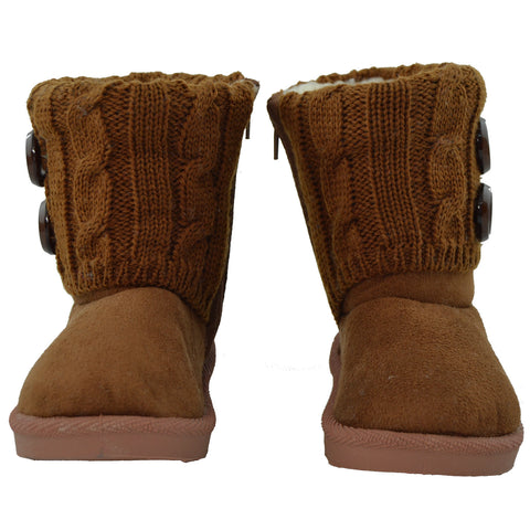 Kids Ankle Boots Interior Fleece Button Accent Soft Rubber Sole Tan